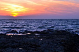 野間灯台からの夕日